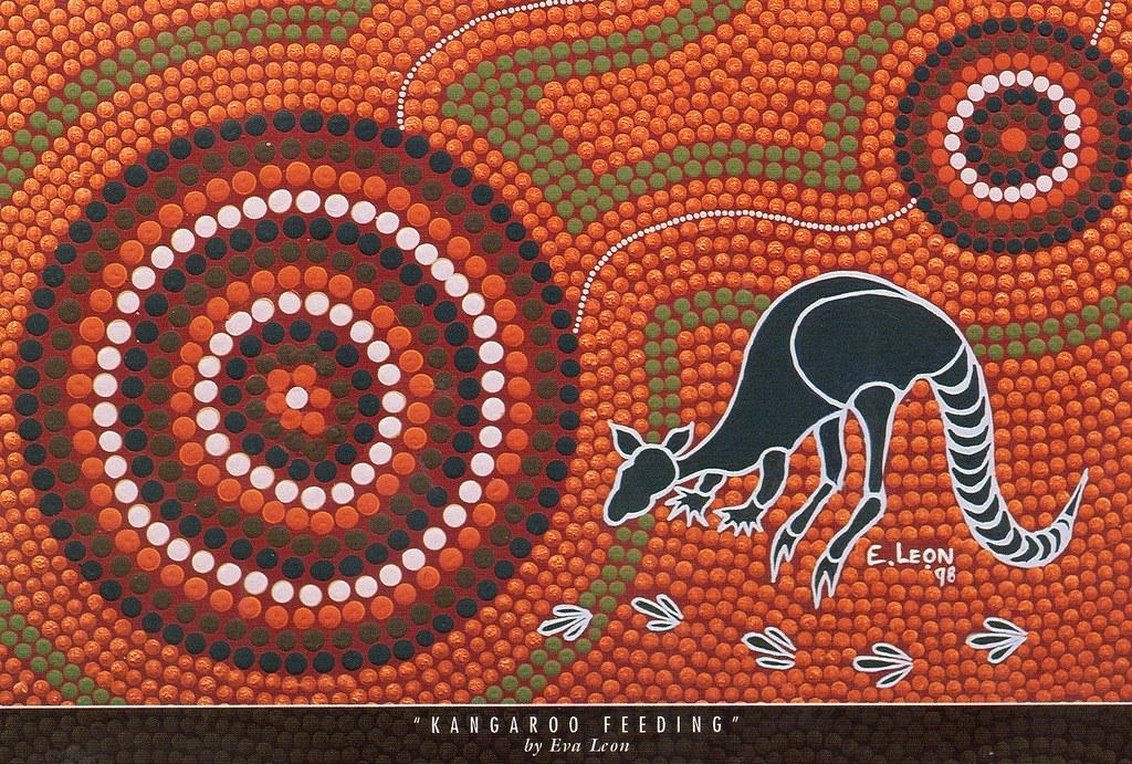 AU-242457 Indigenous Aboriginal Art - Kangaroos Feeding ...