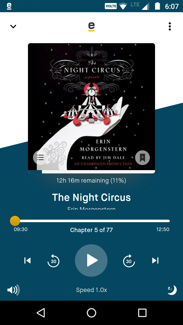 eStories Audiobook Service App Playback screen