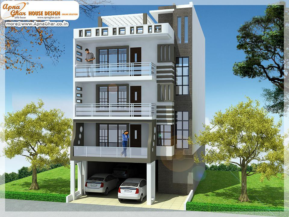 Front Elevation With Stilt Parking : Stilt plus duplex independent floor design