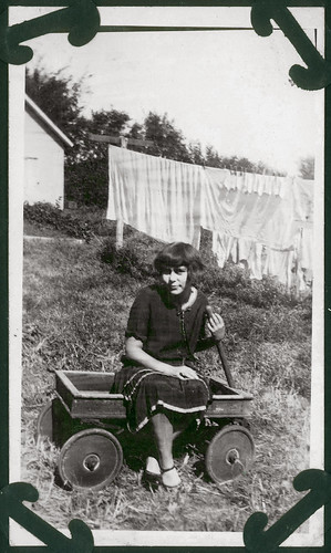 Girl in a wagon