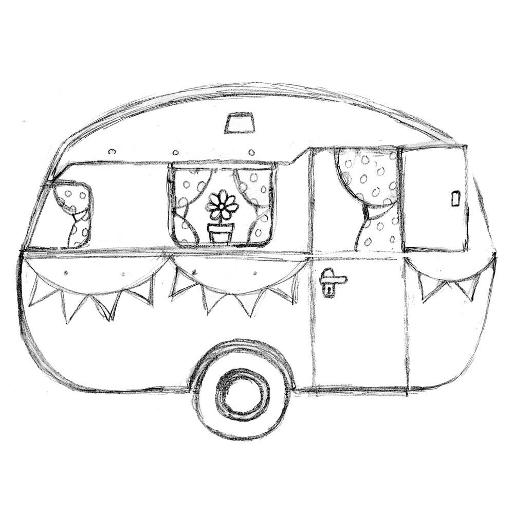 Dream Caravan Sketch Initial Pencil Sketch Of A New