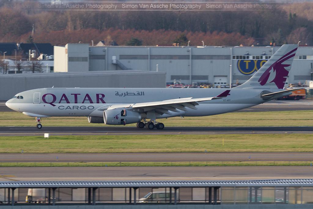 Qatar Cargo A330F A7-AFF at Brussels Airport runway 25R ...  Qatar Cargo A33...