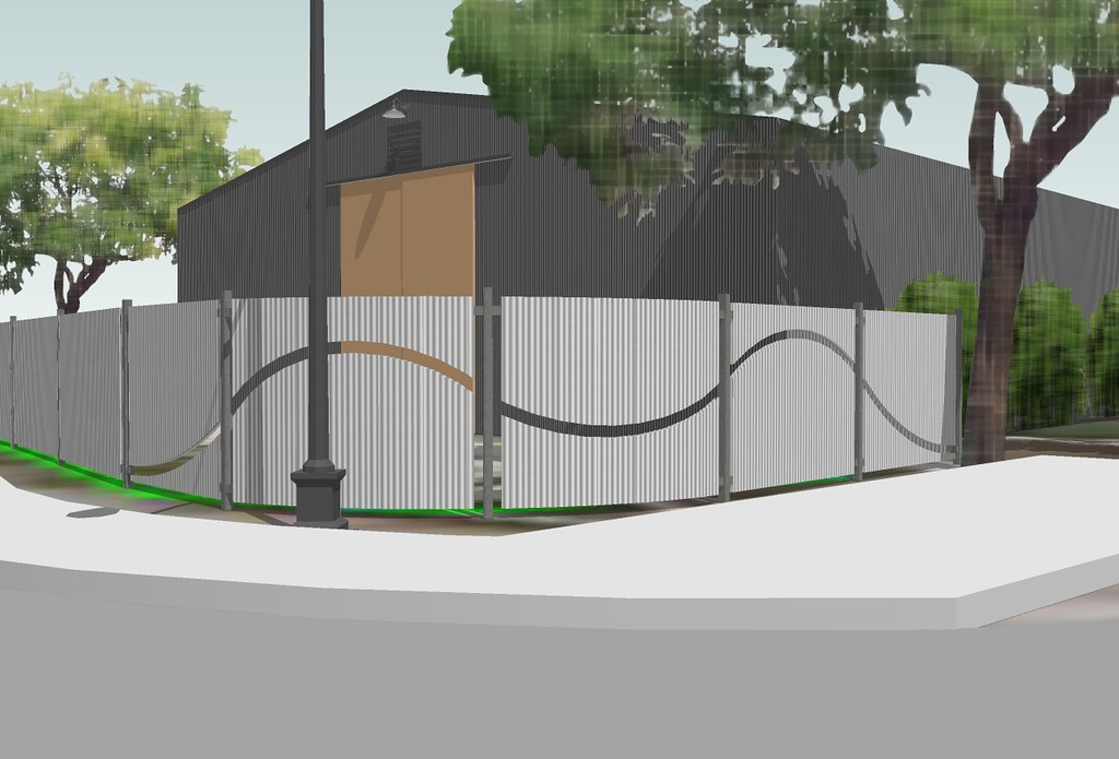 Rendering Of New Fence Featuring Corrugated Steel Panels W