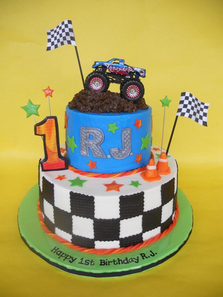monster truck 1st birthday cake