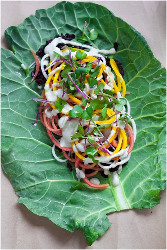 Collard Wrap with Briny Cashew Cream - Gluten-free and Vegan
