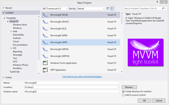 mvvm light toolkit creating a new application