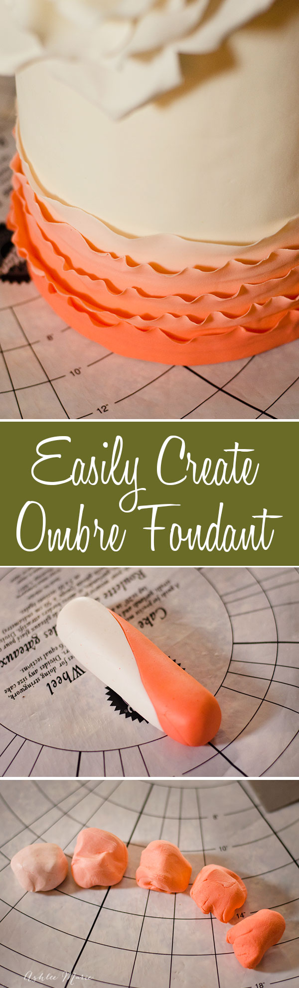 my easy way for making perfectly even ombre fondant or gumpaste