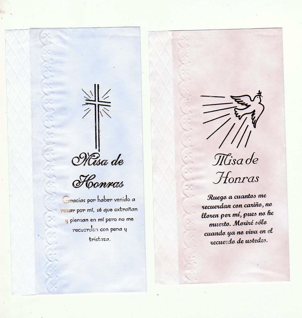 tarjetas de invitacion para misa de honras de defuncion o