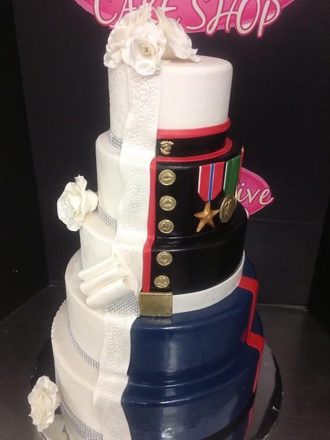Half Wedding Cake Half Marine Corps Grooms Cake