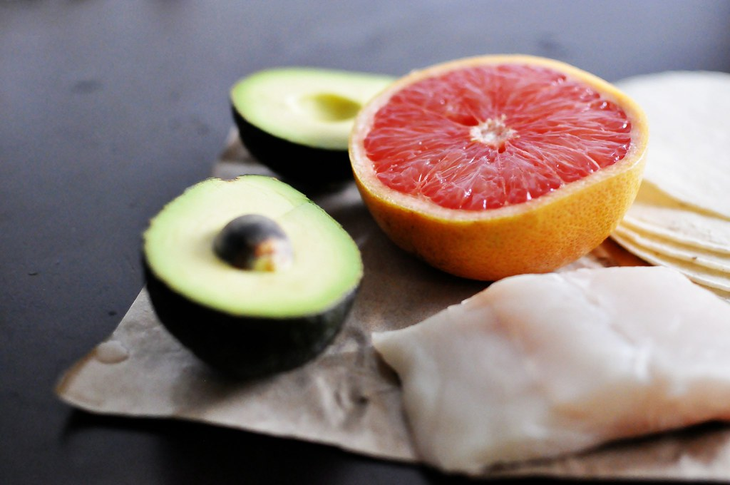 Avocados, grapefruit, fish, and tortillas