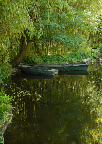 Boats in the Pond in Monet's Garden in Giverny, France