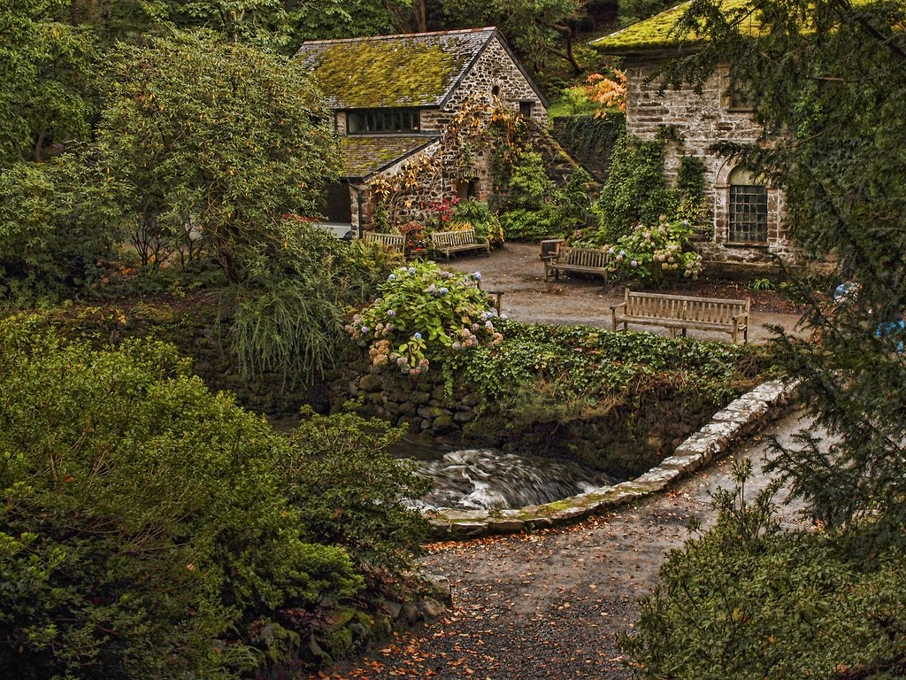 Water Mill The Dell In Bodnant Gardens Conwy North