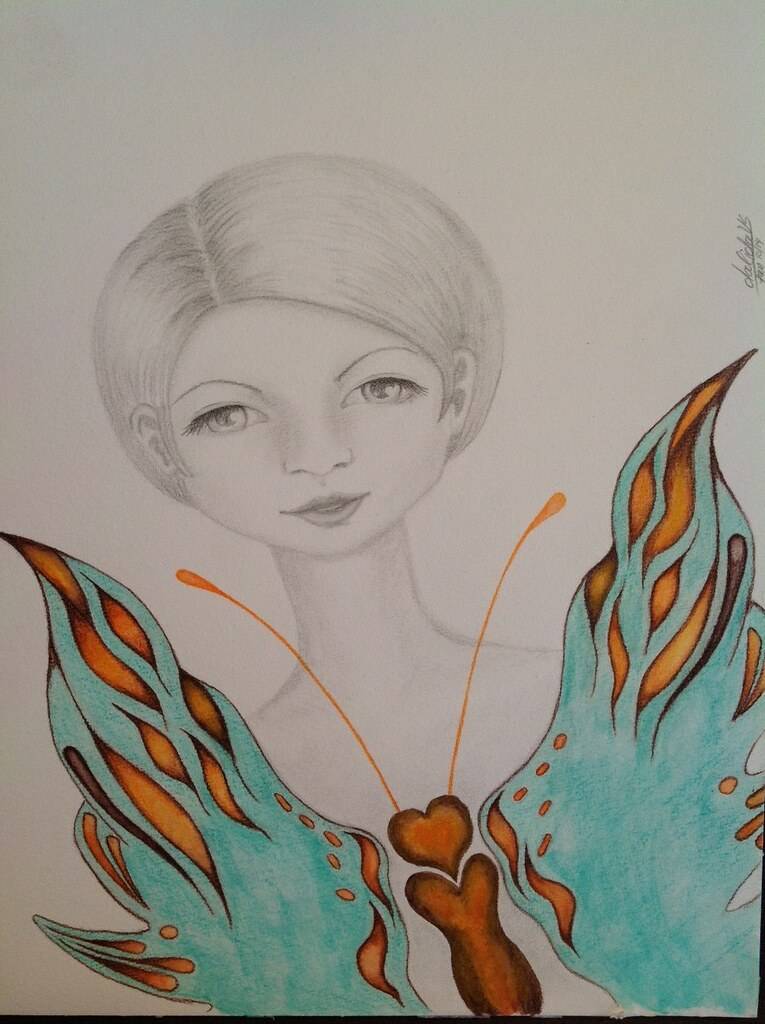 Butterfly fairy | Here another drawing, graphite and waterco ...