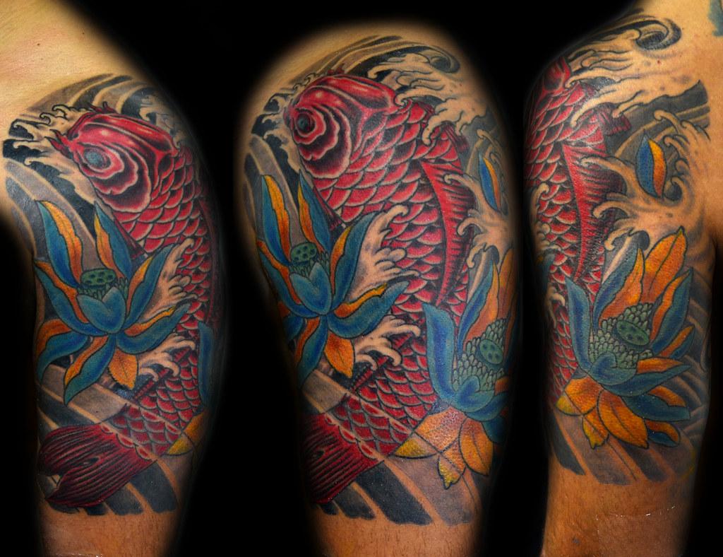 Koi fish lotus japanese tattoo thiago padovani flickr for Koi dragon meaning