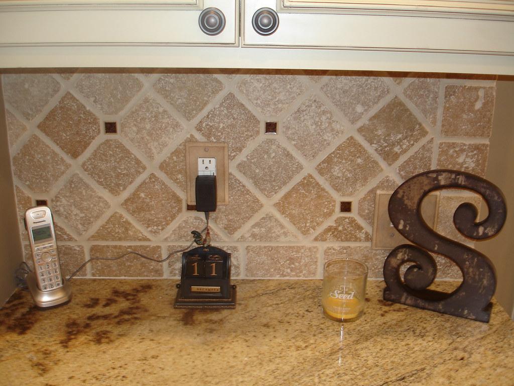 Tumbled stone and glass backsplash tumbled noce stone for Tumbled glass tile