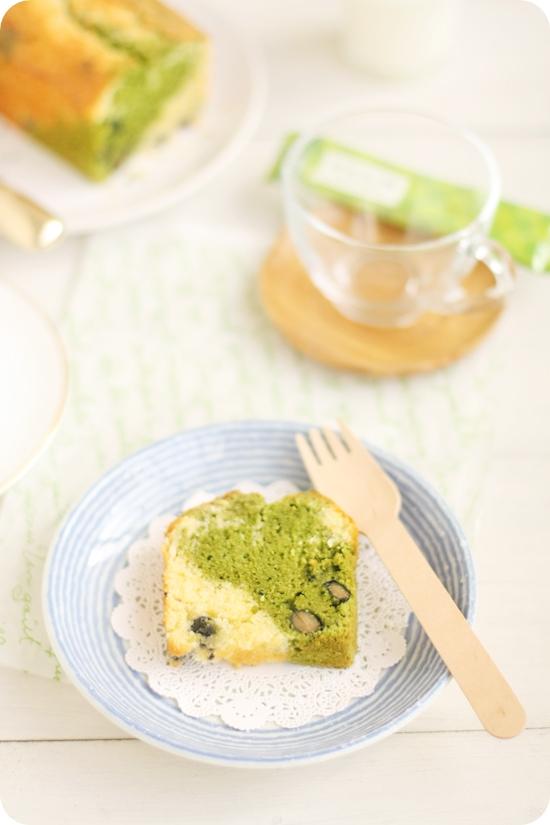 黒豆入り抹茶のマーブルパウンドケーキ