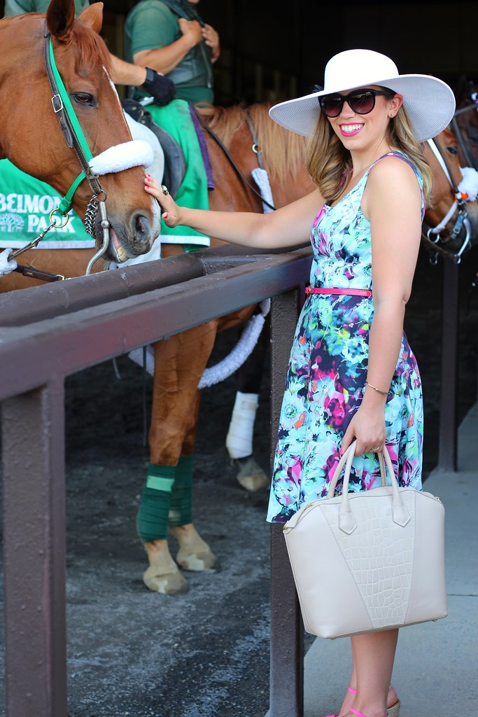 Floral Dress & Derby Hat at Belmont Racetrack