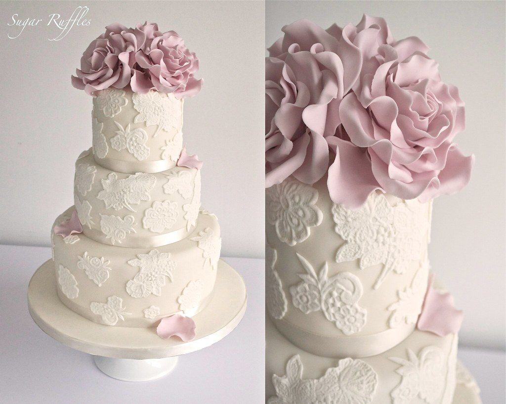 Lace wedding cake with dusky pink roses Charlotte