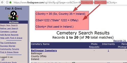 Find a Grave Ireland County URL