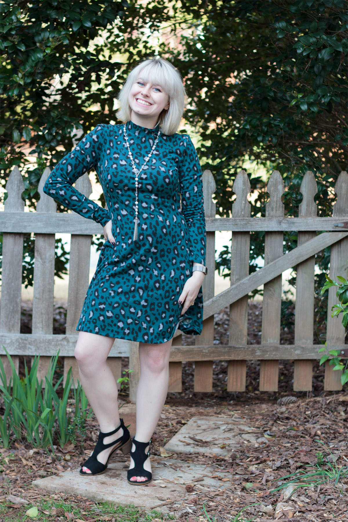 Mock Neck Teal Leopard Print Dress, Tassel Necklace, and Black Target Sandals