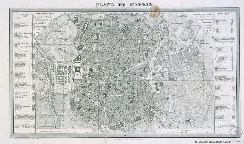 Plano de madrid grabado bajo la direcci n de juan noguera for Direccion madrid espana
