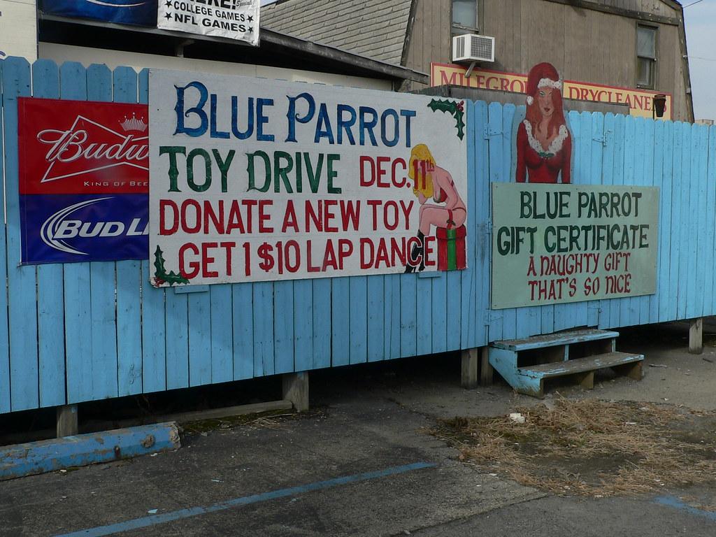 Blue parrot strip club