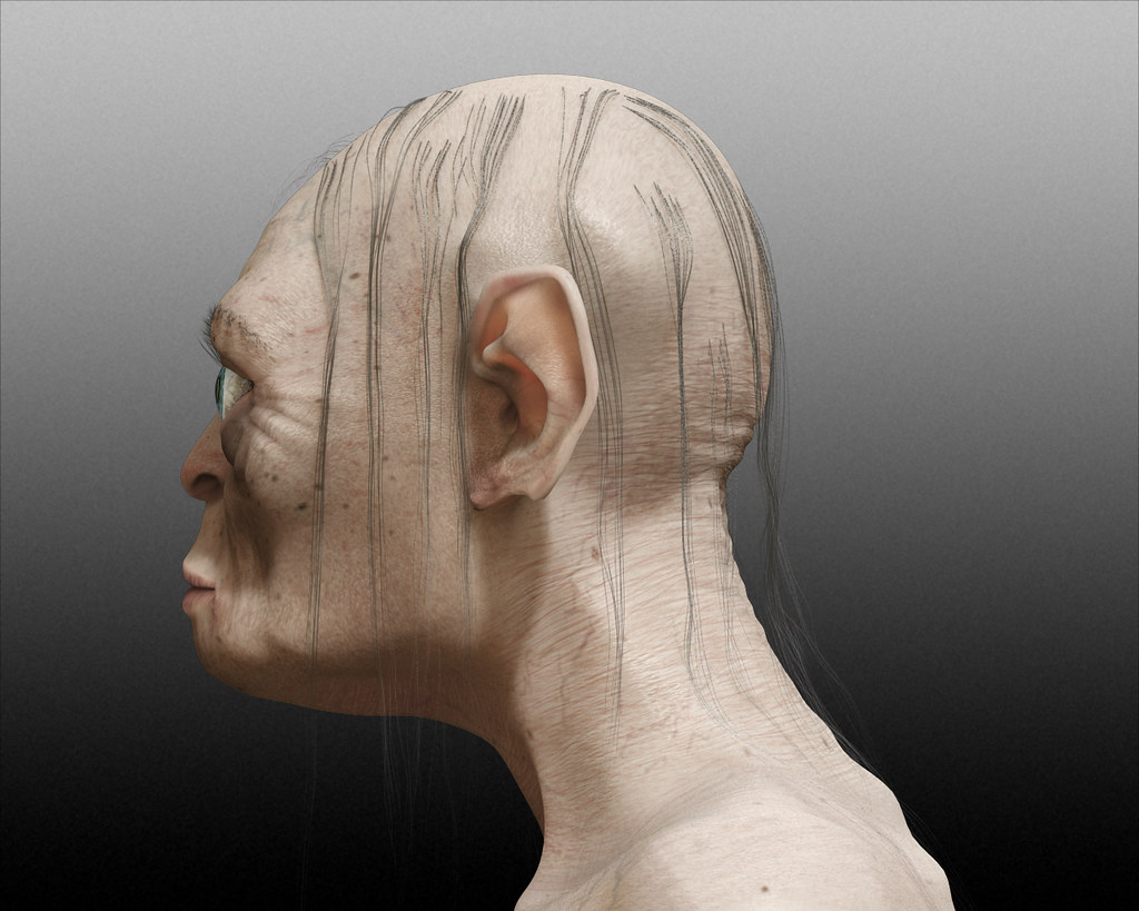 gollum portrait side view reference