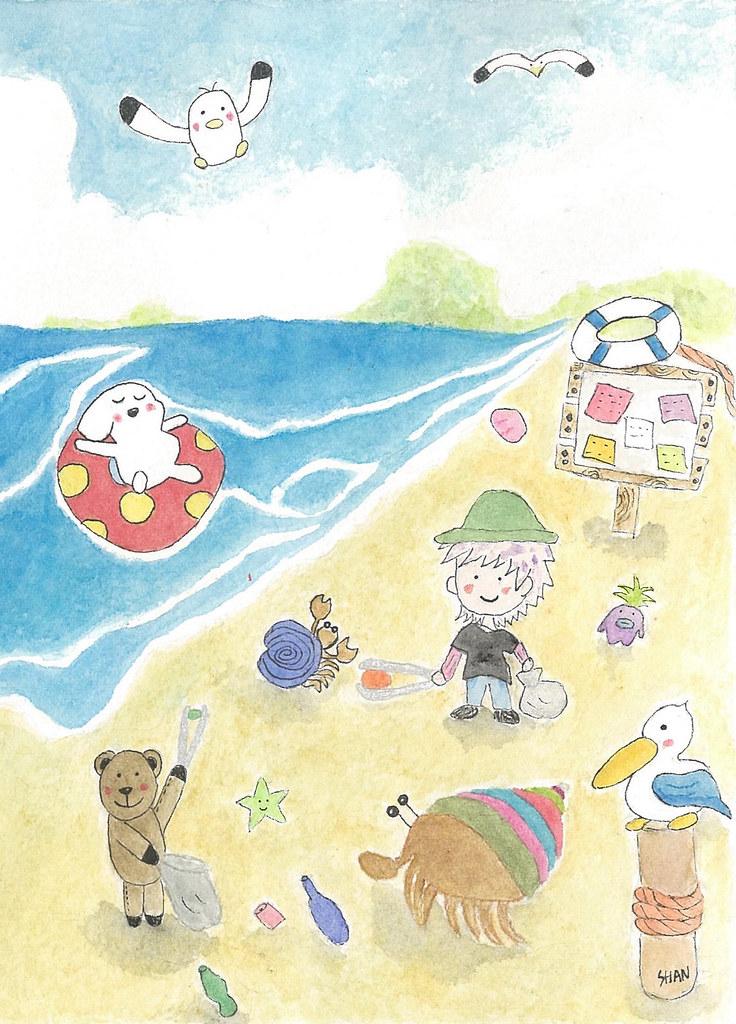 海邊布告欄。插圖:SHAN。圖片提供:人間福報。