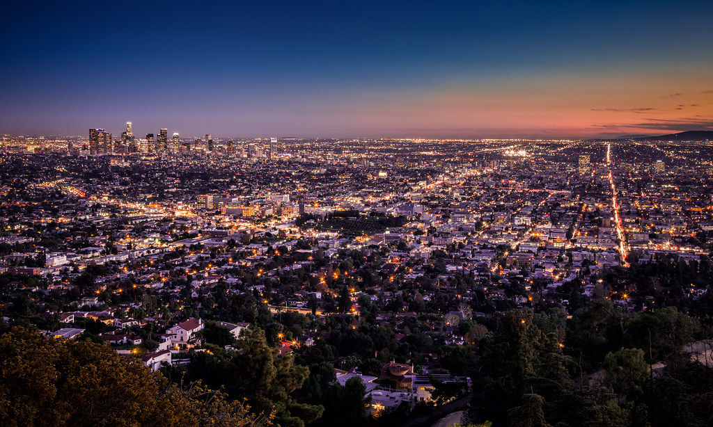 The Fall Of Night In Los Angeles Overlooking The City Of