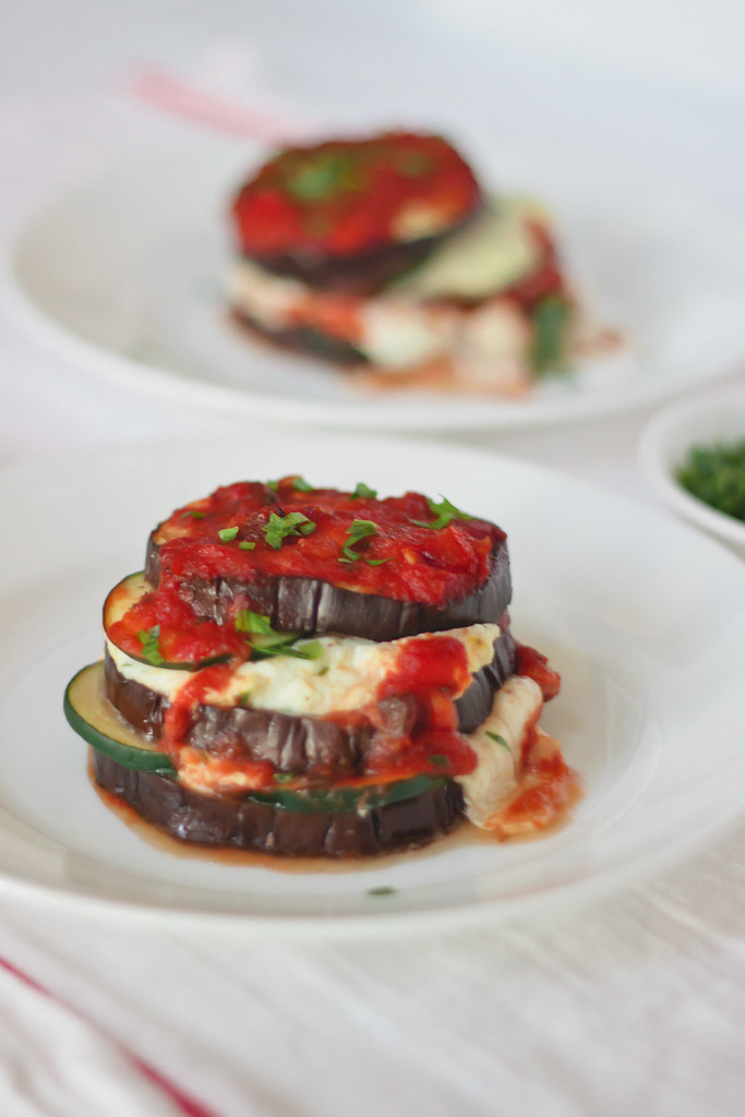 {roasted aubergine-courgette lasagna with mushroom bolognese and citrus ricotta}
