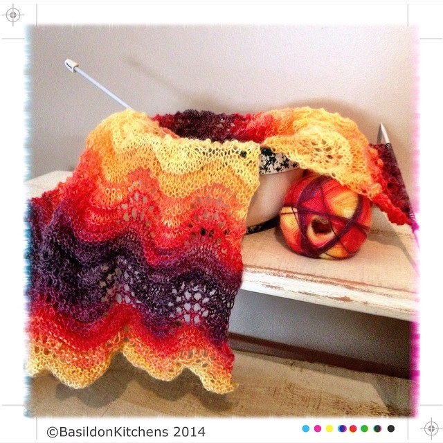 16/2/2014 - create {a lighter than air lacy scarf; the color is called 'bonfire'} #fmsphotoaday #create #knitting #bonfire #lace #scarf #yellow #red #orange #purple #featherandfan
