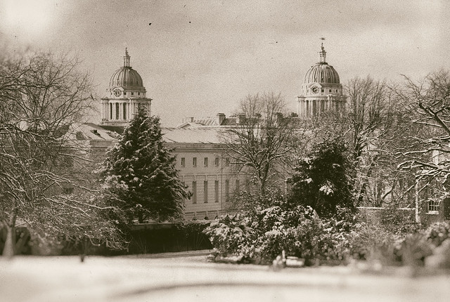 Snowy Old Royal Naval College with vintage filter