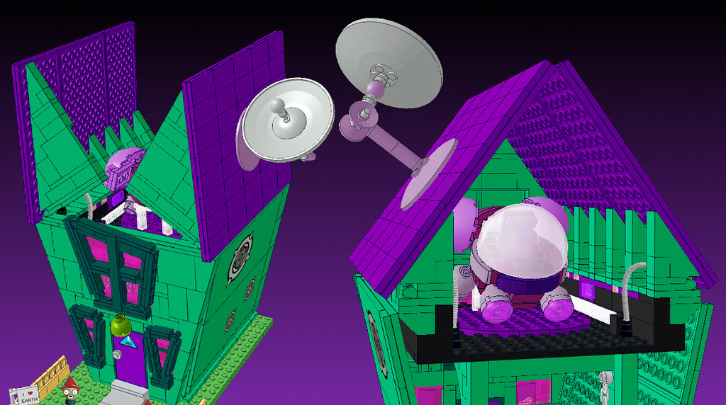 4 Lego Ideas Invader Zim Set Voot House Exterior And Roof