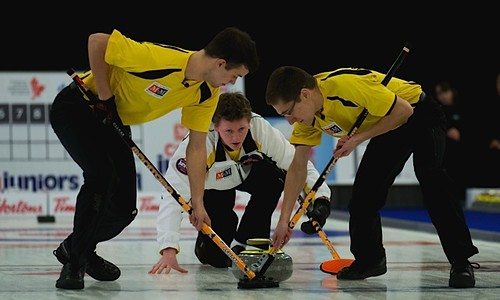 Manitoba skip, Braden Calvert throws a stone during the men's final. Sweeping for him are are Brendan Calvert and Lucas Van Den Bosch | by seasonofchampions