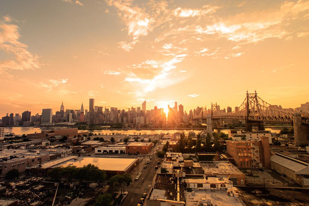 New York City Sunset The New York City Skyline Of