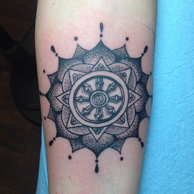 did this lovely dharma wheel and mandala on maryanne today