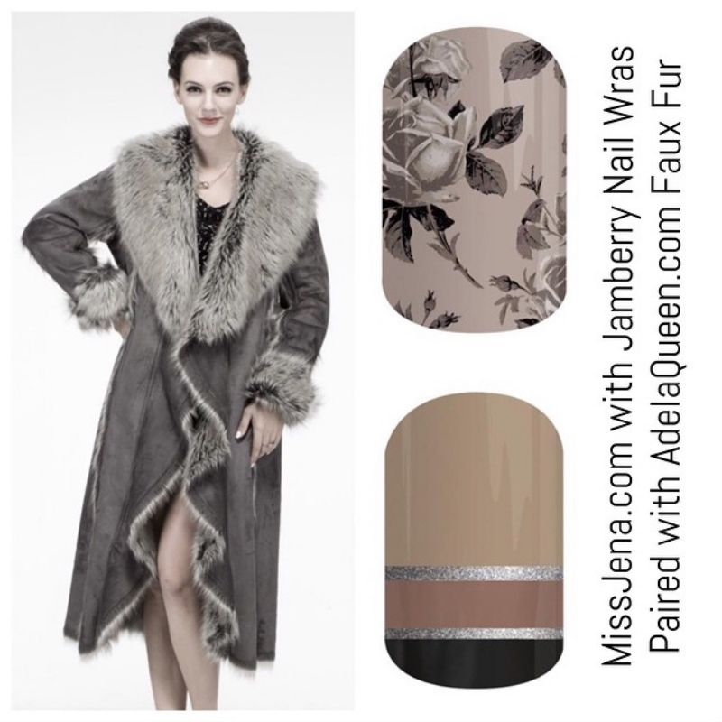Adela Queen fur inspired designs, cruelty free fur with jamboree nail wrap designs
