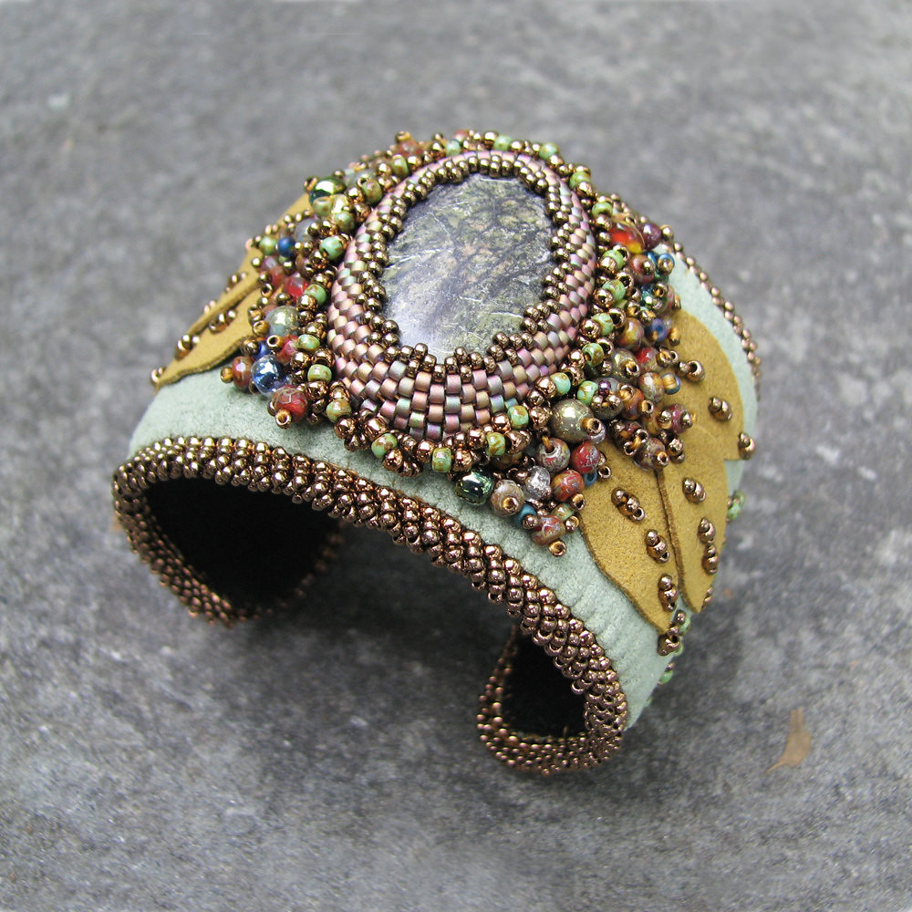 Green cuff bracelet serpentine gemstone with bead embroid