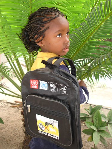 Backpacks raising awareness in the Democratic Republic of the Congo | by United Nations Development Programme