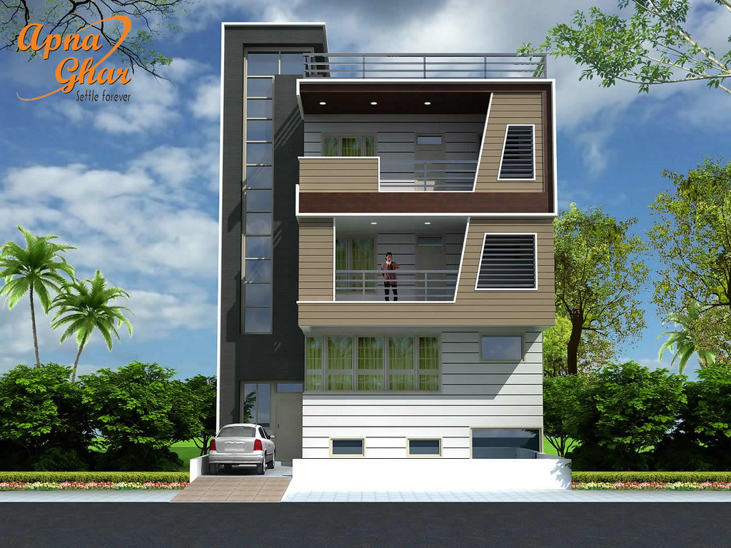 Front Elevation Designs For 4 Floors Building : Triplex house design bedrooms in