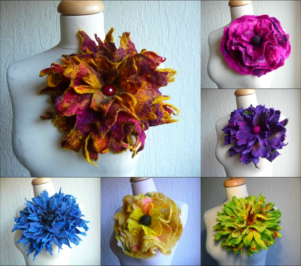 Felted Flower Corsage Felted Brooch Felted Art To Wear Ink