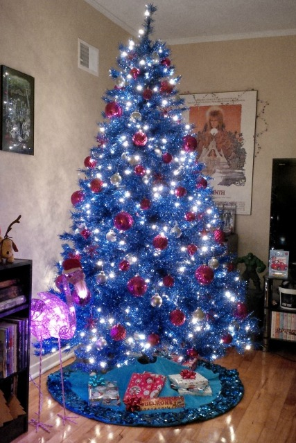 My Blue Christmas Tree With Pink Ornaments Zombie