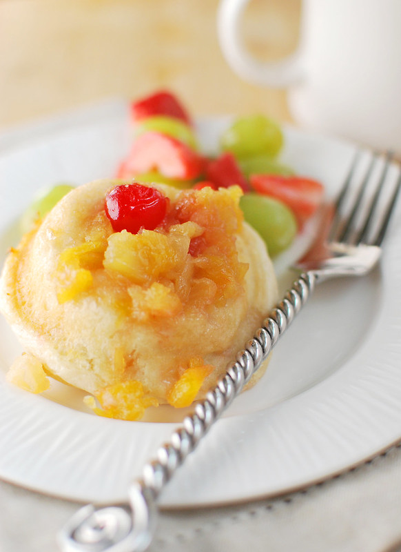 Pineapple Upside Down Biscuits - canned biscuits filled with a brown sugar pineapple mixture and baked until golden brown! A quick and easy breakfast!