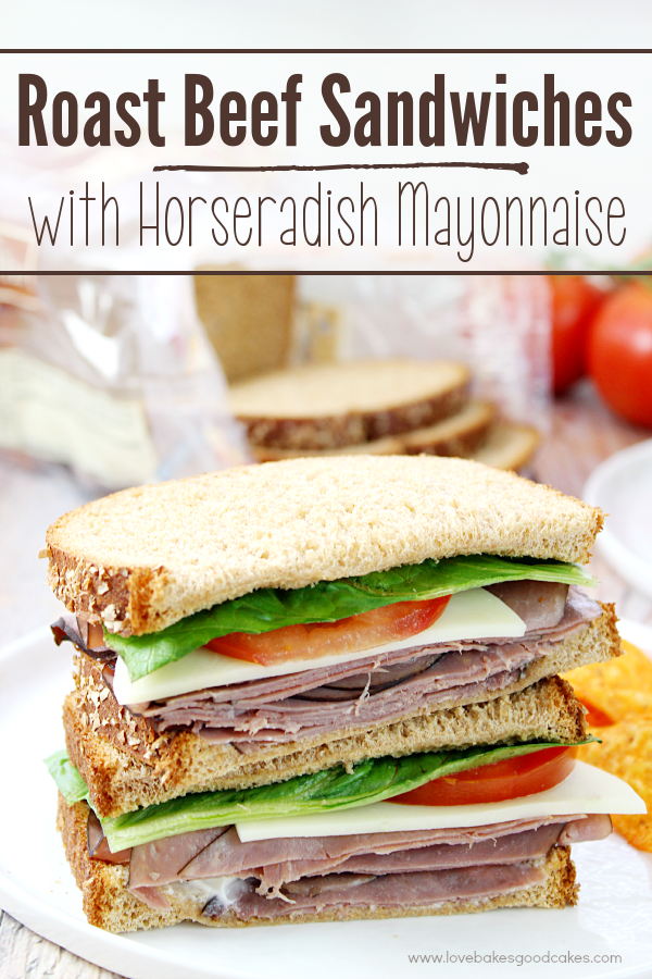 Roast Beef Sandwiches with Horseradish Mayonnaise on a plate.