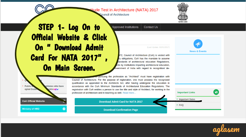 NATA 2017 Admit Card