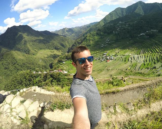 Miguel Egido, de Diario de un Mentioso, en los arrozales de Batad, Filipinas