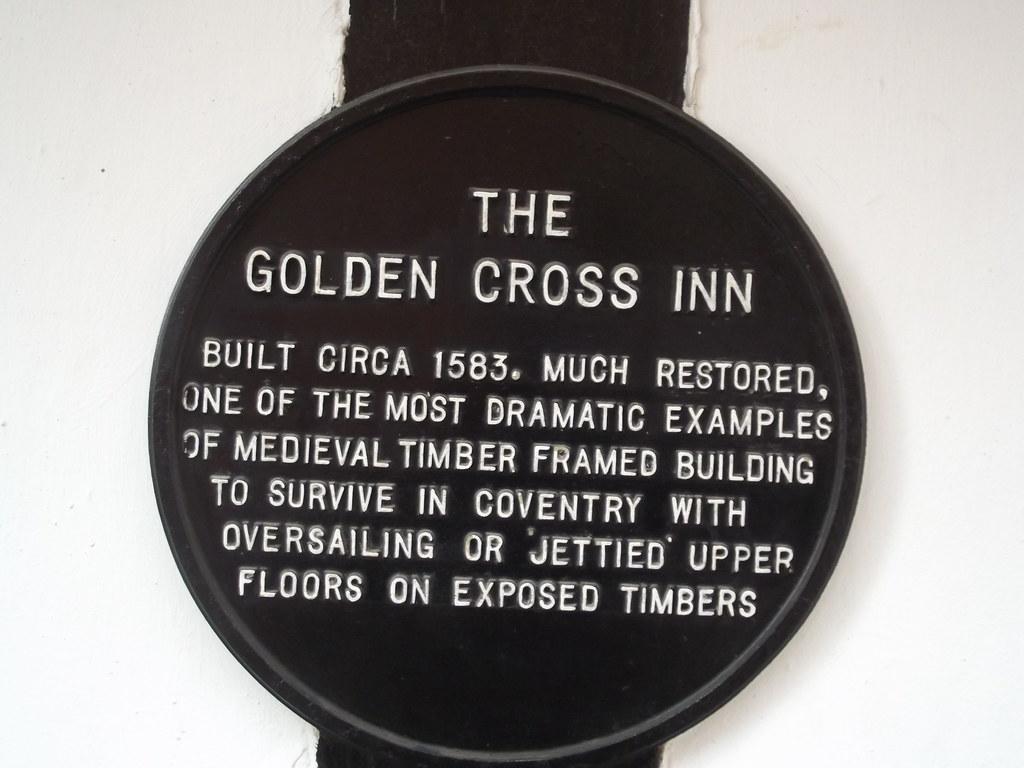 The Golden Cross Inn 8 Hay Lane Coventry Black Plaque