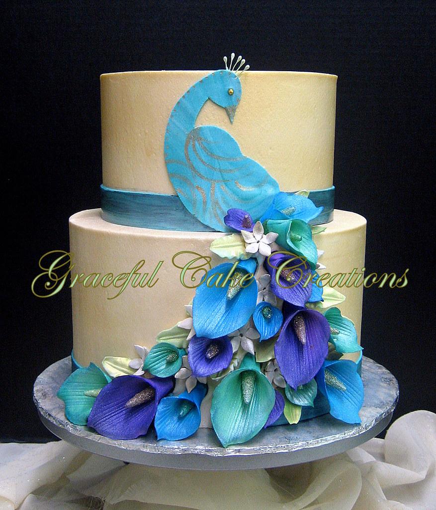 Elegant Peacock Themed Birthday Cake