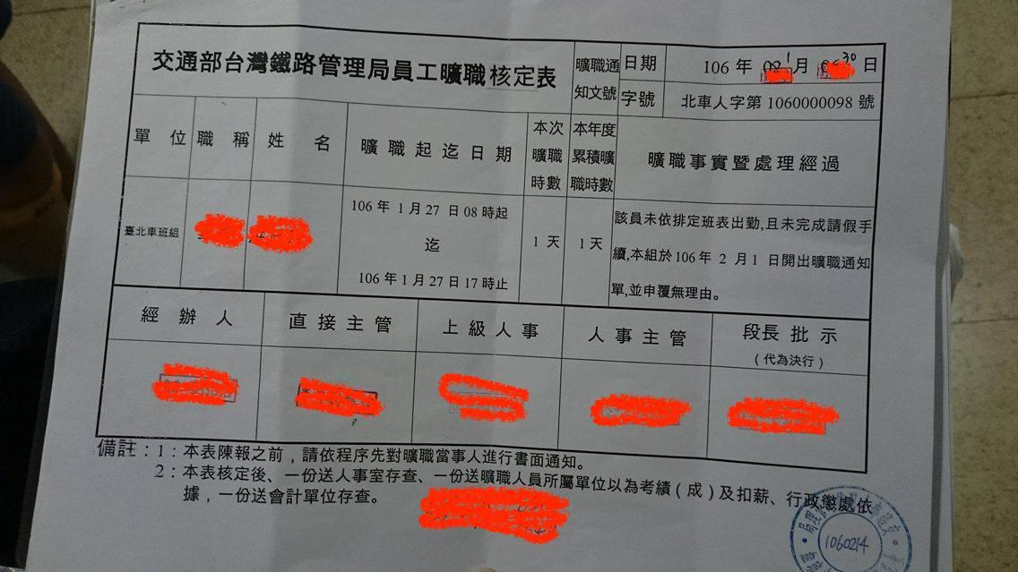 交通部發給台鐵勞工的曠職「核定」表(姓名經保密處理)。可以看到「核定」二字有塗改遮蓋的痕跡。(楊鵑如提供)
