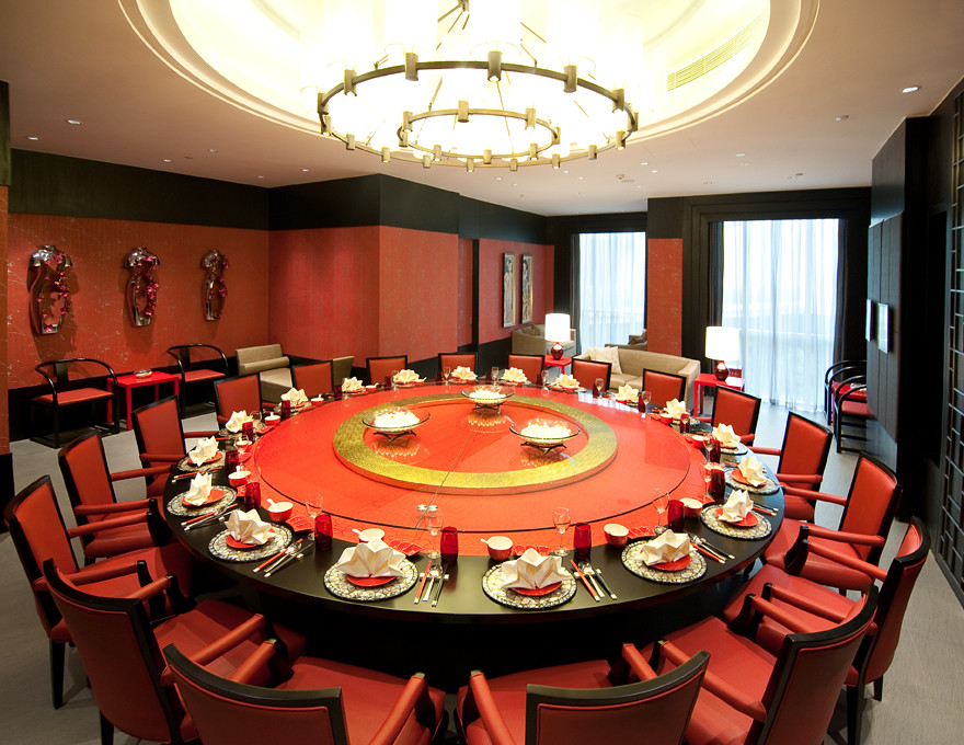 Red Circular Chinese Table With Red Chair In Private Quot Hous